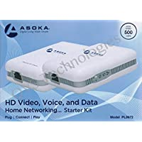 Asoka PlugLink ETH-500 Mbps HomePlug Powerline Ethernet Adapter-Starter 2-Pack