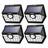 LITOM [Gen-3] Solar Lights Outdoor, 20 LED Wireless Wide Angle Motion Sensor Lights, Heavy Duty IP65 Waterproof Security Solar Light for Front Door, Yard, Garage, Deck, Porch, Shed, Walkway (4 Pack)