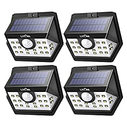 Litom 3rd Gen Solar Lights Outdoor, 20 Led Wireless Wide Angle Motion Sensor Lights, Ip65 Waterproof Security Lights For Front Door, Yard, Garage, Deck, Porch, Shed, Walkway, Fence (4 Pack)