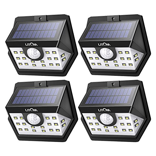 LITOM [Gen-3] Solar Lights Outdoor, 20 LED Wireless Wide Angle Motion Sensor Lights, Heavy Duty IP65 Waterproof Security Solar Light for Front Door, Yard, Garage, Deck, Porch, Shed, Walkway (4 Pack) by Litom