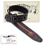 Walker & Williams Black & Red Top Grain Leather Guitar Strap with Chrome and Brass Studs