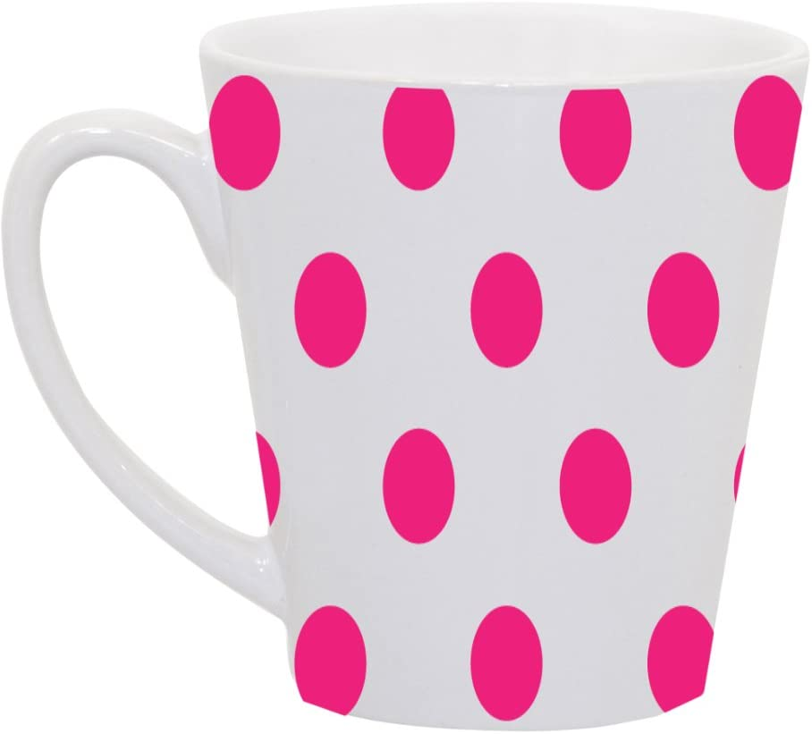 amazon com hot pink polka dot polka dots white background 12 ounce latte ceramic coffee mug tea cup by moonlight printing kitchen dining hot pink polka dot polka dots white background 12 ounce latte ceramic coffee mug tea cup by moonlight printing