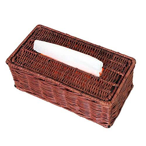 ZH Bamboo Rattan Woven Tissue Box Holder Paper Towel Rack Rectangular Household Hotel Bathroom Toilet Car Paper Towel Storage Basket,25x13.5x9.5cm (Color : Brown)