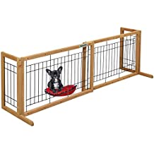 "DazzPet Free Standing Pet Gates | Extra Wide Indoor Small Dog Gate | Expandable Puppy Safety Gate | Wooden Long Door 40"" to 71"" Adjustable Inside Doggy Fence"