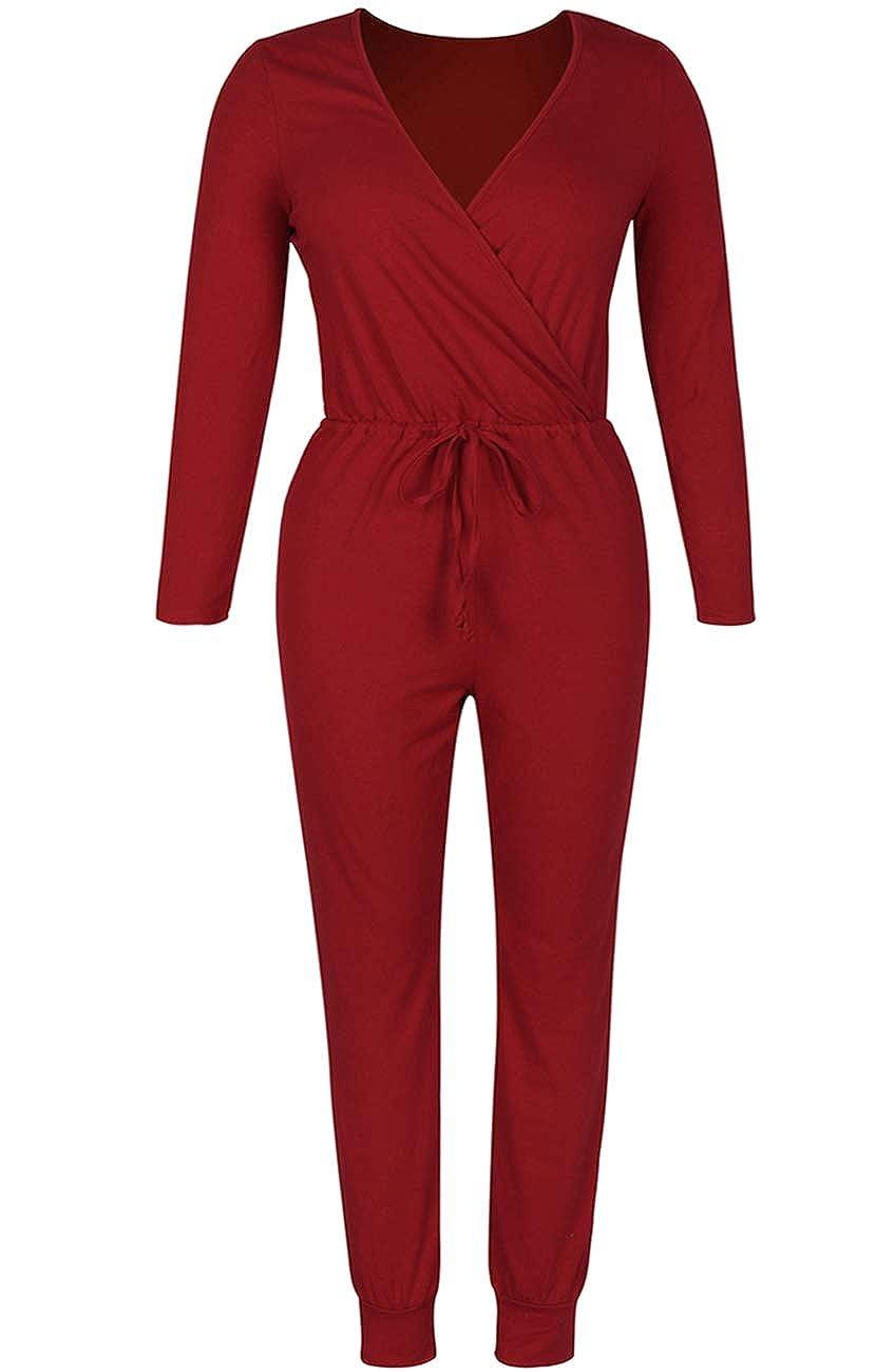 Fixmatti Women Low V Neck Drawstring Waisted Long Pant Romper Jumpsuit
