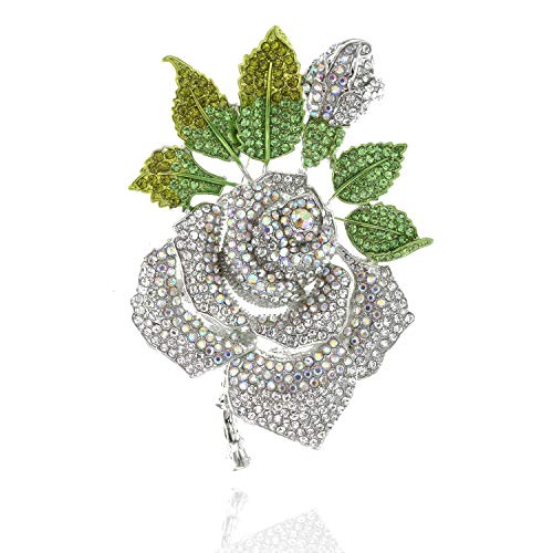 SP Sophia Collection Spring Full Bloomed Rose Brooch Pin with Green Leaves Embellished with Rhinestones in Silver