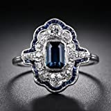 925 Silver White Natural Topaz& Tanzanite Women Wedding Bridal Ring Size 6-10#by pimchanok shop (9)
