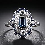 925 Silver White Natural Topaz& Tanzanite Women Wedding Bridal Ring Size 6-10#by pimchanok shop (9)