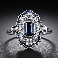 925 Silver White Natural Topaz& Tanzanite Women Wedding Bridal Ring Size 6-10#by pimchanok shop (7)