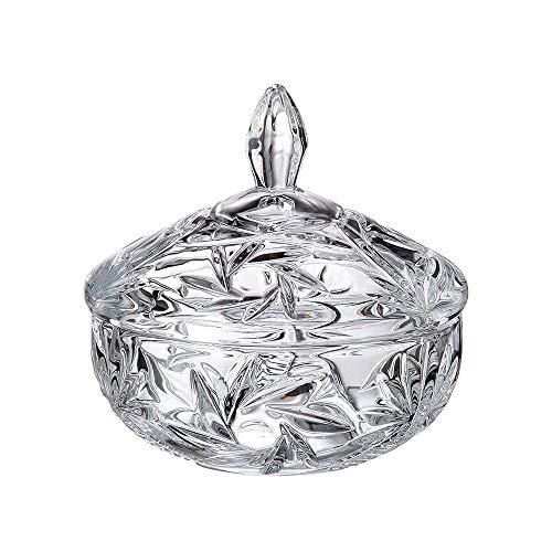- Dulcinea Crystal Cut Glass Candy Dish, No Lead Content, Removable Lit