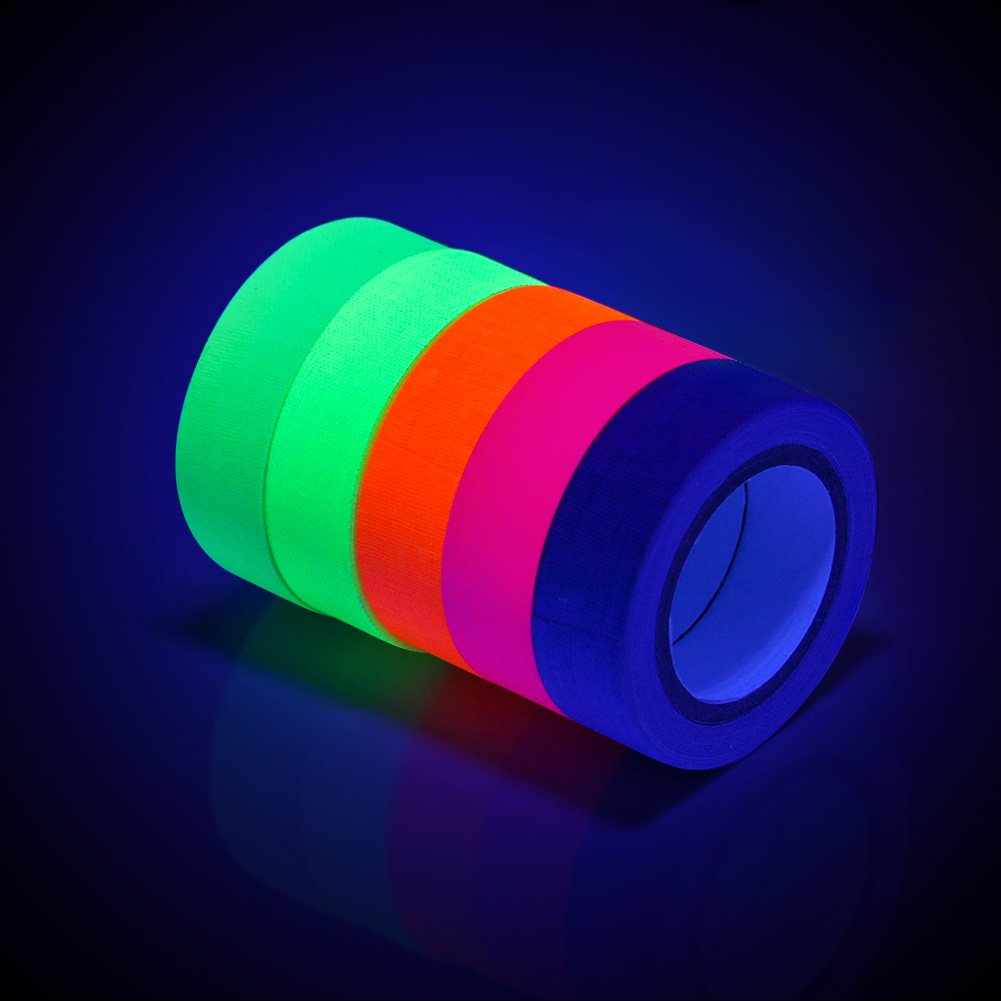 Blacklight Tape, OPPSK Fluorescent Tape Glow in The Dark Party Supplies Matte Finish 5 Pack / 0.6 in x 16.4 feet