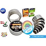 Cookie Cutters 11 PIECE ROUND Biscuit Cutter Set For Pastry Donuts Dough English Muffin Sandwich Pancake Crumpet Rings Cookies Pizza Mold Scones And Baking COMMERCIAL HIGH QUALITY Range of 304 Stainless Steel RUST PROOF 2 FREE eBOOKs Buy Yours Now!