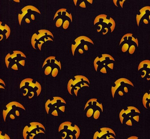 RJR Dan Morris 'Boo Crew' Jack-O-Lantern Silhouette Faces on Black Cotton Fabric By the Yard ()
