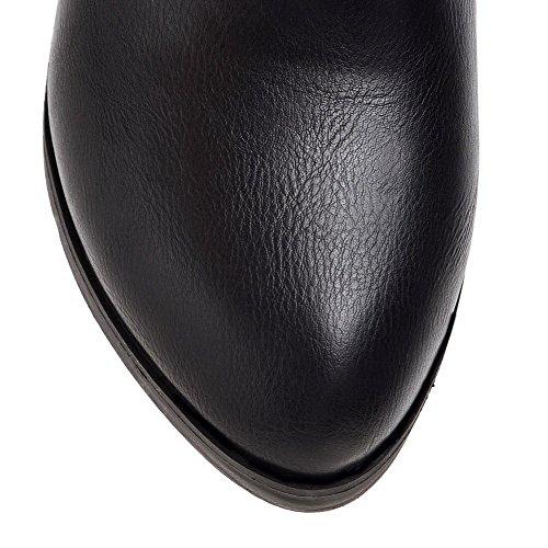 AmoonyFashion Womens Round-Toe PU Kitten-Heels Pull-On Solid Pumps-Shoes Black VpYVPrs