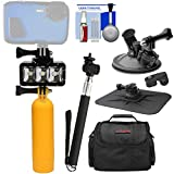 Precision Design WPL40 Waterproof Underwater Diving LED Video Light + Buoy + Suction Cup + Selfie Stick Kit for Waterproof Point & Shoot, GoPro, Action Cameras
