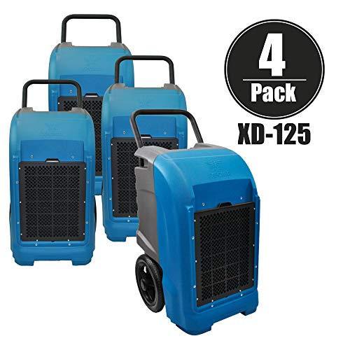 XPOWER XD-125 Industrial Commercial Dehumidifier for basements, Large Rooms, Work Sites- Flood Damage Treatment, Moisture, and Prevent Mold and Mildew- 125-Pints/15-Gallons a Day- Blue (4 Pack) Review