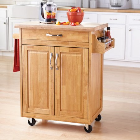 Kitchen Island Cart, Multiple Finishes, Solid Wood Top, Available in White or Natural Finish, Towel Bar and Spice Rack, Durable Casters for Mobility, Drawer and Cupboard for Ample Storage Options from GAShop