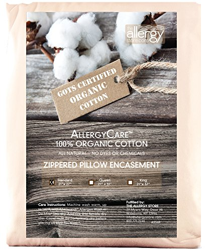 The Allergy Store Allergycare Zippered Organic Cotton Pillow Cover, Standard, (Organic Pillow Cover)