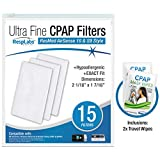 RespLabs CPAP Filters Compatible with ResMed AirSense, AirCurve - S9, AirStart, Autoset 10   Disposable Universal Replacement Elite Air Filter Kit [15 Pack]