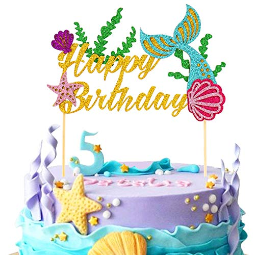 Mermaid Cake Toppers Happy Birthday Under the Sea Glitter Party Favors Supplies Baby Shower Decorations 1 Set