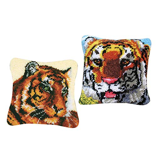 SM SunniMix 2 Set Decorative Tiger Latch Hook Kits Embroidery Pillow Case Cushion Cover ()