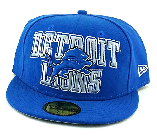 Detroit Lions New Era 59Fifty Block Stacked Logo Blue Gray Fitted Hat Cap 7 1/4