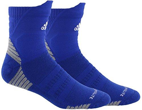 adidas Alphaskin Maximum Cushioned High Quarter Socks (1-Pack), bold blue/white/light Onix, 12-16