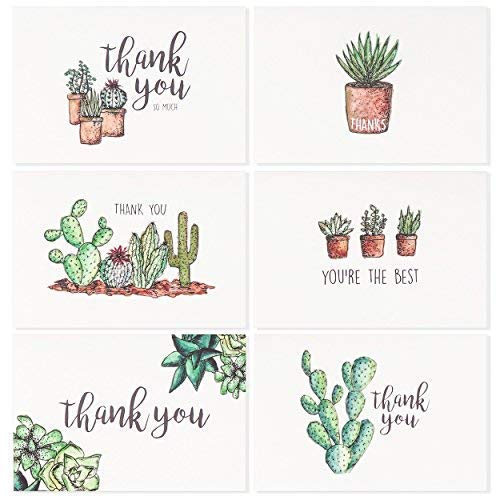 - Blank Watercolor Thank You Cards: 36 Assorted Boxed Pack - Succulent Floral Green & Black & White Card Designs: Bulk Note Box for Graduation, Wedding, Bridal Party, Baby Shower, Men & Women Sympathy