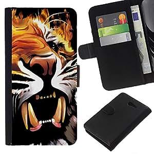 KLONGSHOP // Tirón de la caja Cartera de cuero con ranuras para tarjetas - Pintura cartel colmillos del tigre Rugido Bostezo - Sony Xperia M2 //