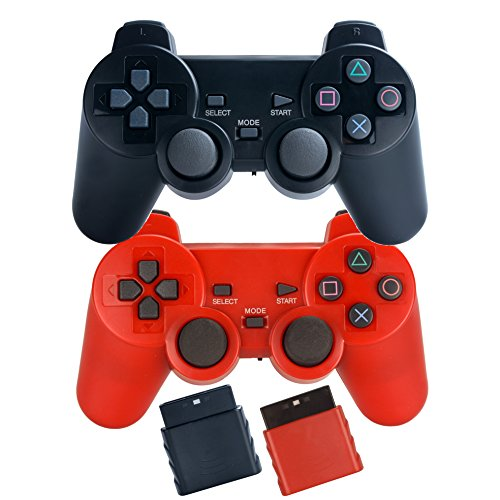 Saloke 2 Packs Wireless Gaming Controllers for Ps2 Double Shock (Black and Red) (Video Ps2 Game Red)
