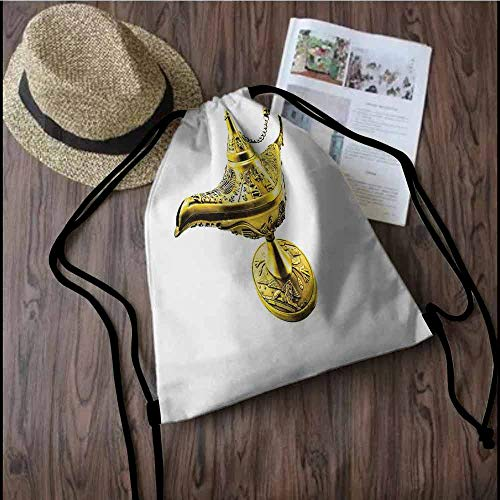 Arabian Portable drawstring backpack Aladdin`s Magic Genie Lamp Wish Mystery Magic Wonder Adventure Story Inspired Art For the gym W13.8 x L17.7 Inch Gold White