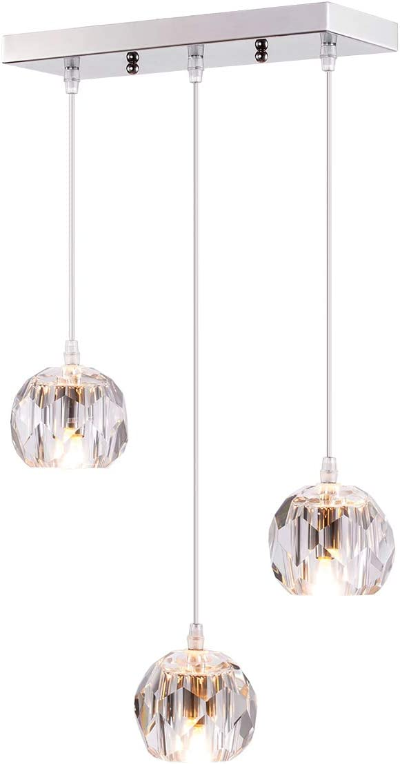 Fancy 3-Light Crystal Globe Pendant Lighting for Kitchen Island, Modern Small Indoor Decorative Ceiling Pendant Light for Dinning Room Living Living Room Bar Room Restaurant