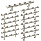 kitchen cabinet bar knobs Brushed Nickel Cabinet Hardware Kitchen Cabinet Pulls 15 Pack -Homdiy HD201SN 3-3/4 in Hole Centers T Bar Cupboard Drawer Pulls Stainless Steel