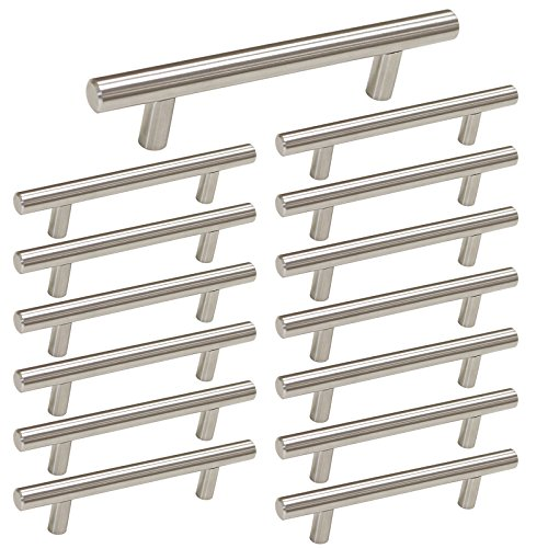 Brushed Nickel Cabinet Hardware Kitchen Cabinet Pulls 15 Pack -Homdiy HD201SN 3-3/4 in Hole Centers T Bar Cupboard Drawer Pulls Stainless Steel (Kitchen Cabinet Hardware)