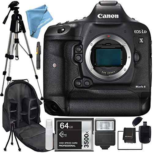 Canon 1D X Mark II EOS-1D X Mark II Body Only, Flash,64GB SDHC Class 10 High Speed Memory Card, Professional Tripod, Camera & Accessory Backpack, SD Card Reader, Memory Card Wallet