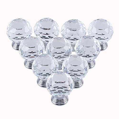 LONGWIN 10pcs 30mm Crystal Glass Ball shape Drawer Knob Cabinet Handle (Ball Sphere)
