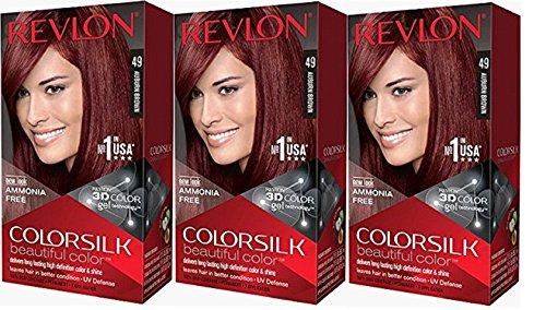 Revlon Colorsilk Beautiful Color, Auburn Brown, 3 Count