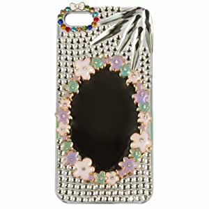 Bling Rhinestone Diamond Bamboo leaves Skin Case Cover for Iphone 5 5s with Mirror