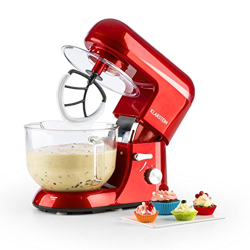 KLARSTEIN Bella Rossa 2g • Tilt-Head Stand Mixer • Dough Hook, Flat Beater, Wire Whip • 650 Watts • 1.1 HP • 5.5 qt Glass Bowl • Planetary Mixing Action • 6 Speeds • Multifunctional • Red