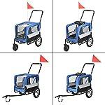 ProTec-Rimorchio-per-Bicicletta-per-Trasporto-Cani-143-x-67-x-96-cm-Carrello-2-in-1-per-Trasporto-Animali-Domestici-Carico-Max20-kg-Blu-Grigio-Nero