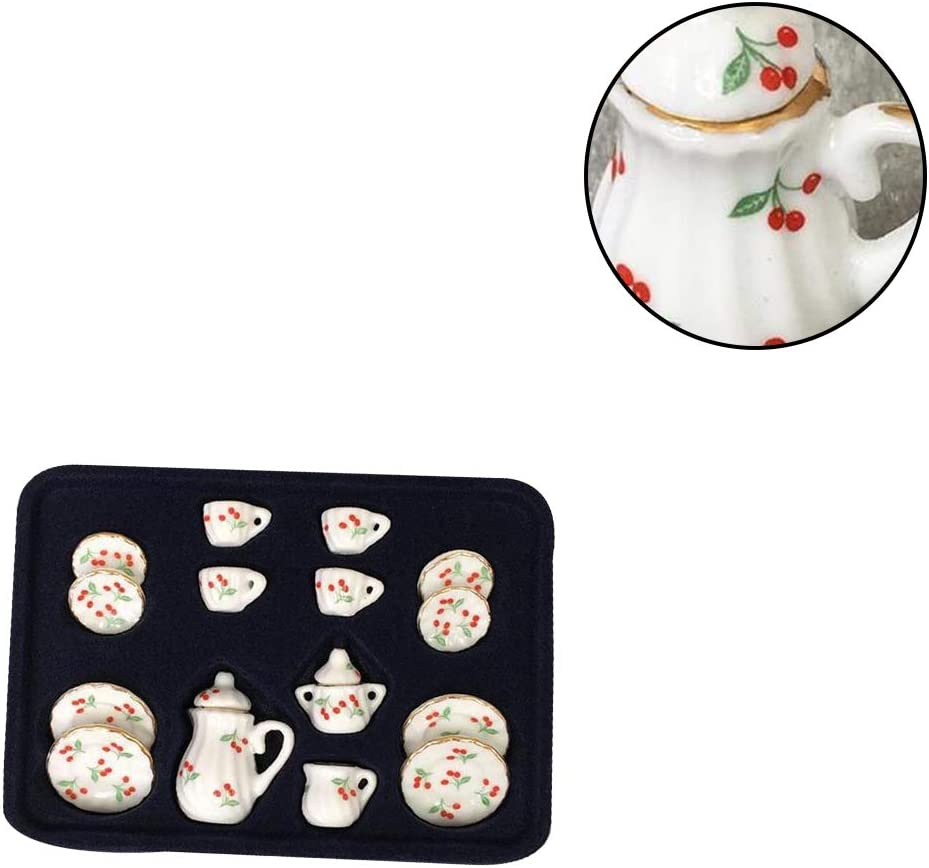 Romote 15 Pcs 1:12 Wooden Dollhouse Ornament Ceramic Mini Tea Set Creative Tea Set Mini Kitchen Toy Doll Home Accessories Doll House Toy Red Cherry Style