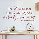MairGwall Inspirational Vinyl Wall Quotes Words Art Dreams Wall Sticker Eleanor Roosevelt Motivation Saying The Future Belongs To Those Who Believe In The Beaut