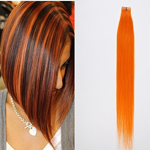 DSOAR 1.5g/piece,10pcs/lot Skin Weft Human Hair Extension 24 Inch PU Tape In Hair Orange Color,Can be Restyled