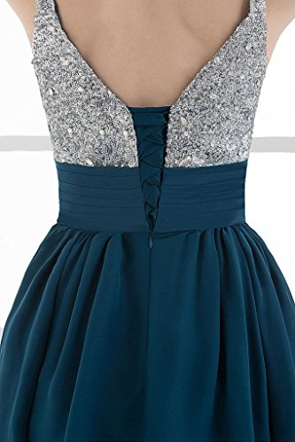 BRIDE tiefen Kleid Cocktail GEORGE Bling kurzes Spaghetti Ozean Buegel Bling Chiffon dB1SW1qwz