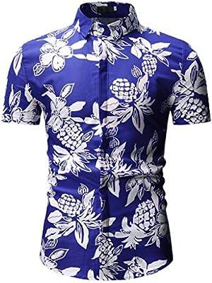 Mens Short Blouse Leisure T-shirt Turn-down Collar Button Down Cotton Summer New