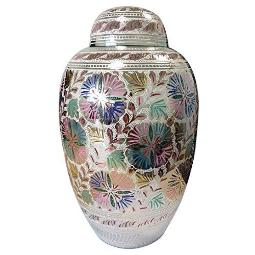 Large Adult Farnham Flower Cremation Brass Urn for Memorial Human Ashes