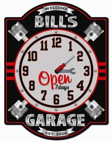 Personalized Workshop Sign (Garage Piston Personalized Hardboard Clock Sign from Redeye Laserworks)
