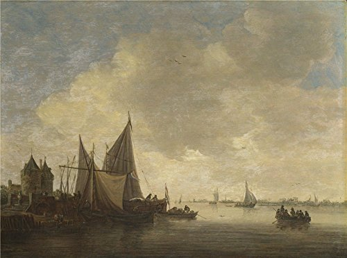 'Jan Van Goyen The Mouth Of An Estuary With A Gateway ' Oil Painting, 12 X 16 Inch / 30 X 41 Cm ,printed On Perfect Effect Canvas ,this Reproductions Art Decorative Prints On Canvas Is Perfectly Suitalbe For Garage Artwork And Home Decoration And Gifts by Leo Brown