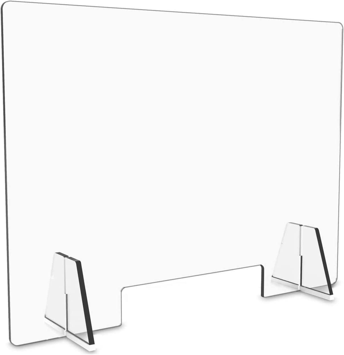 Protective Sneeze Guard for Counter and Desk - Freestanding Clear Acrylic Shield for Business and Customer Safety, Portable Plexiglass Barrier, Food Screen,24