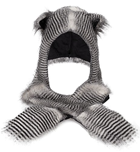 Simplicity 3 in 1 Lovely Animal beanie Cosplay Hats scarf with mittens, Owl (Bear Hood With Paw Scarf)